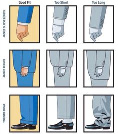Proper Sleeve, Jacket, & Trouser Length. It seems that today's fashion is all about less material. Shorter pants (High Waters or Waiting for a Flood), shorter Jackets, tighter, and lower waist. Real male fashion is not any of those.