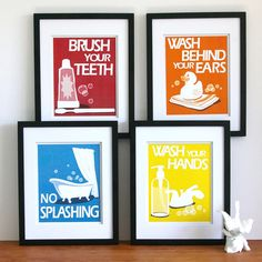 Bathroom Art Prints Pick Any 4 Prints And Choose Your Colors Children S Bathroom Rules Kids Bathroom Decor