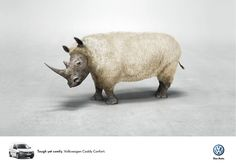 """Tough yet comfy. Volkswagen Caddy Confort."" #Advertising #Rhino"