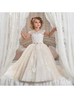 Cap Sleeves Lace Appliques Princess Ball Gown Flower Girl Dresses 5501030