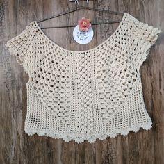Black Crochet Dress, Crochet Lace, Crochet Stitches, Crochet Patterns, Hand Crochet, Crochet Shirt, Crochet Crop Top, Diy Crafts Crochet, Crochet Summer Tops