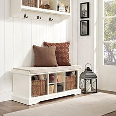 Small hallway bench entry hall bench shoe storage hallway storage bench plus large entryway bench plus Hall Bench With Storage, White Storage Bench, Entryway Bench Storage, Cubby Bench, Bench Mudroom, Shoe Storage, Storage Benches, Diy Storage Bench With Cushion, Storage Ideas
