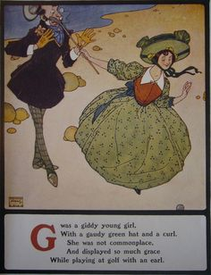 1908 British Childrens Book Illustration, Giddy Young Girl, Kids Room Decor, Nursery Art - Edmund Dulac, 1900s
