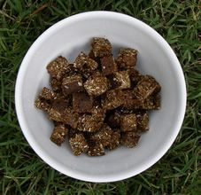 Molasses Trick Training Treat.  This simple treat is great for those horses that love molasses.  Cook a bit longer if you want a drier / crunchy treat.
