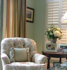 Vignette from a family room. Traditional style. Designer Lena Kroupnik