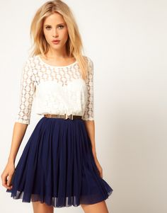 Lace top + navy skirt.