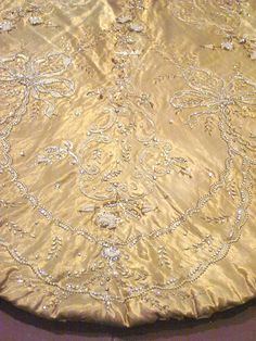 Queen Maude of Norway's Coronation gold Gown - detail - 1906 - Design by Vernon and Silkehuset  royals embroidered  beaded