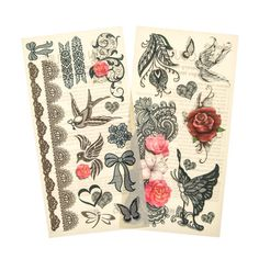 Flower and Lace Temporary Tattoos