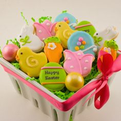 Mini Decorated Bunny and Chick Sugar Cookies