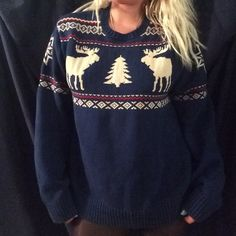 Navy blue moose sweater Oversized navy blue moose sweater. Can fit sizes medium-XL. American living  Sweaters Crew & Scoop Necks