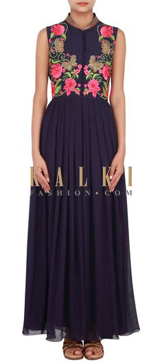 Buy Online from the link below. We ship worldwide (Free Shipping over US$100) http://www.kalkifashion.com/navy-blue-suit-enhanced-in-zardosi-and-resham-embroidery-only-on-kalki.html