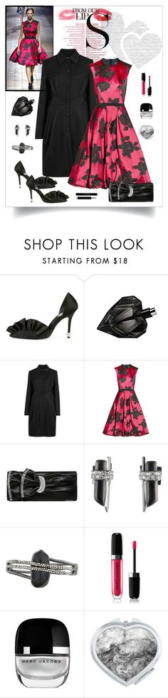 """""""Lanvin Belted Floral Jacquard Dress Look"""" by romaboots-1 ❤ liked on Polyvore featuring MAC Cosmetics, Lanvin, Alexis Bittar and Marc Jacobs"""