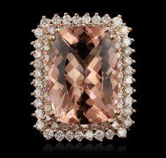14KT Rose Gold 23.01ct GIA Cert Morganite and Diamond Ring