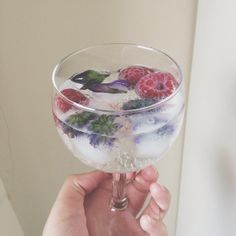 Sparkling water with flower ice cubes and frozen raspberries
