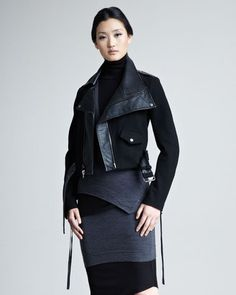 ShopStyle: Donna KaranModern Felt & Leather Moto Jacket