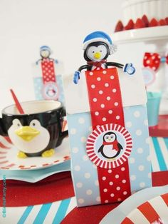 Penguin Christmas breakfast party favor bags!  See more party planning ideas at CatchmyParty.com!