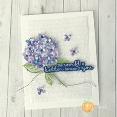 """From Lauren @lalipeach - The Hydrangea Hill DSP is right up my alley with its soft, watercolor tones and muted patterns. It was perfect for creating a dimensional hydrangea for my card. I used the coordinating dies to cut some blossoms and layered them directly on top of the flower and bent up the petals for added texture realism. For an extra touch of sparkle, I added some """"Whale of a Time"""" sequins to the centers of each blossom. Created with the Hydrangea Hill DSP (154570). Hydrangea, I Card, Peonies, Stampin Up, Birthday Cards, Wings, Fancy, Watercolor, Texture"""