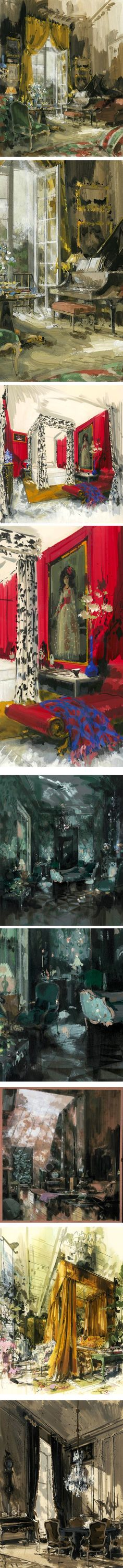 Jeremiah Goodman's lovely paintings of rooms.