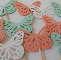 Butterfly Cupcake Toppers  Mint Green White and by Whimsiesbykaren, $3.25