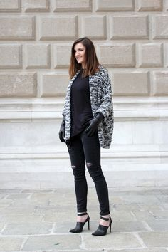 ootd: black and white wool cardigan