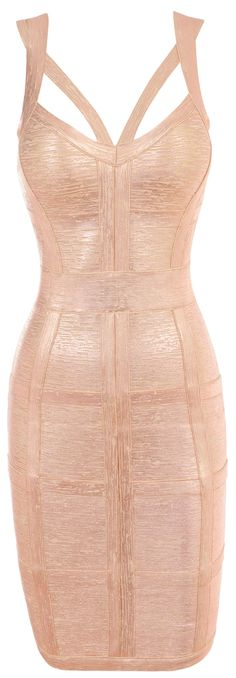 Clothing : Bandage Dresses : Danielle Rose Gold Bandage Dress