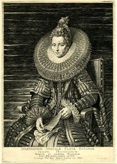 Portrait of Isabella Clara Eugenia, TQL seated to l, wearing a large ruff and holding a fan; after Rubens, 1615  Engraving. British Museum.