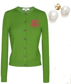 Pink and green monogrammed cardigan, pearl earrings--cute holiday gift idea for my special sorors, hmmmm