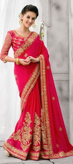 196000 Red and Maroon  color family Bridal Wedding Sarees,Embroidered Sarees,Party Wear Sarees in Georgette fabric with Border,Machine Embroidery,Stone,Thread,Zari work   with matching unstitched blouse.