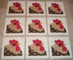 9 Rooster Chicken Quilt  Blocks by MarsyesQuiltShop on Etsy, $12.95