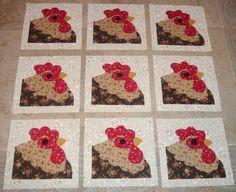 Free Chicken Quilt Blocks | Rooster Chicken Quilt Blocks by MarsyesQuiltShop on Etsy