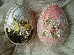Wonderful Ribbon Embroidery Flowers by Hand Ideas. Enchanting Ribbon Embroidery Flowers by Hand Ideas. Egg Crafts, Easter Crafts, Decoration Shabby, Decorations, Egg Shell Art, Easter Egg Designs, Quilted Ornaments, Easter Projects, Egg Art