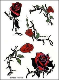"Barbed Flowers Temporaray Tattoo by Tattoo Fun. $0.99. This 3"" x 4 1/2"" sheet of temporary tattoos contains five individual designs. Each design is a rose and leaves on a barbed wire pattern."