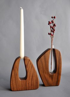 Sculptural candleholder---or vase! Solid American black walnut with hand-rubbed oil finish, with glass test tubes (optional). Made in Canada. $89