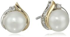 Sterling Silver and 14k Yellow Gold Freshwater Cultured Pearl (7 mm) with Diamond Accents Stud Earrings