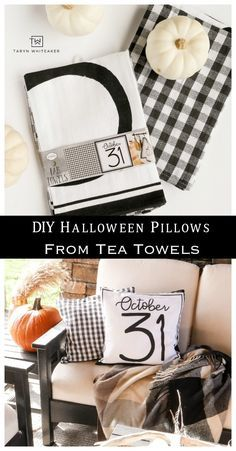 DIY Halloween Pillows - Taryn Whiteaker - Real Time - Diet, Exercise, Fitness, Finance You for Healthy articles ideas Diy Halloween Gifts, Halloween Decorations For Kids, Halloween Pillows, Halloween Home Decor, Halloween Photos, Fall Decorations, Halloween Halloween, Fall Diy, Diy Pillows