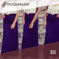 navy blue maxi skirt size small soft cotton maxi skirt ! size small. foldable top to adjust to your desired length Skirts Maxi