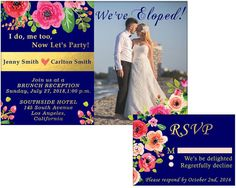 Items similar to We've Eloped! me too, Now Let's Party! Elopement, Wedding Announcement, Post-Wedding Reception invitation + RSVP card, Digital on Etsy Wedding Reception Invitations, Wedding Labels, Party Invitations, Jenny Smith, Elopement Party, Mini Champagne, Wedding Announcements, Post Wedding, Just Married