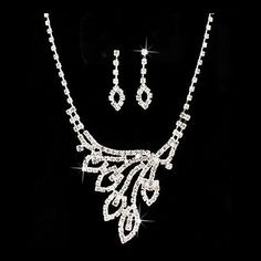 "Bridal Wedding Jewelry Set Crystal Rhinestone Navette Necklace Earring Silver Accessoriesforever. $14.50. Material: Clear Crystal Rhinestones, Rhodium / Silver Plated. Color: Silver, Clear. Dimensions (Size): Necklace: 15"" Long + 4"" extension (Lobster Claw Closure); Earrings: Approx. 1.3"" Drop x 0.4""W (Post Back Closure). Style: Navette Design, Prong Set. Nickel / Lead Compliant"