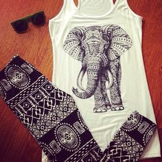Elephant tank & Pattern Leggings