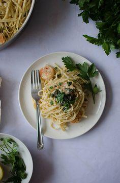 Creamy Shrimp Linguine | Sprig and Flours