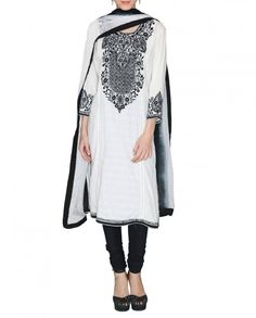 White Suit with Traditional-Motif Embroidery - Apparel