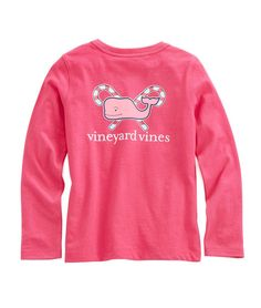 Girls Long-Sleeve Crossed Candy Cane Pocket Tee