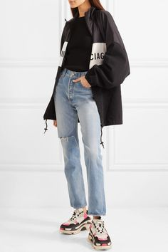 Light-blue denim Partially concealed button fastenings along front cotton Machine wash Made in Japan Sporty Outfits, Teen Fashion Outfits, Simple Outfits, Classy Outfits, Gucci Outfits, Lookbook Mode, Fashion Lookbook, Balenciaga, Hypebeast