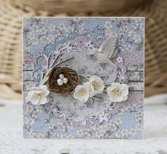 Card with wreath and bird nest and flowers maja design #majadesign April Mood Board contribution