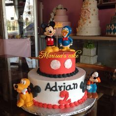 Mickey mouse and friends birthday cake. Visit us Facebook.com/marissa'scake.