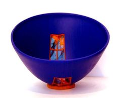 """Blue Meditation,"" fused and drop formed glass bowl by Doug Randall"