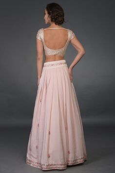 Nude Pink Resham and Gota Patti Hand Embroidered Lehenga Sari Blouse Designs, Fancy Blouse Designs, Bridal Blouse Designs, Lehenga Designs, Indian Dresses, Indian Outfits, Navratri Dress, Stylish Blouse Design, Stylish Sarees