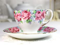 Royal Standard Teacup, Tea Cup and Saucer, Rose of Sharon, Fluffy ...