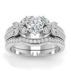 Womens-Halo-Heart-Cut-AAA-CZ-925-Silver-Wedding-Bridal-Ring-Set-Fashion-Jewelry