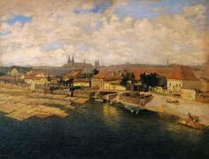 Jan Minařík - Pohled na Podskalí (1905) Different Points Of View, True Beauty, Prague, Painters, A4, Cities, Houses, Artists, The Originals